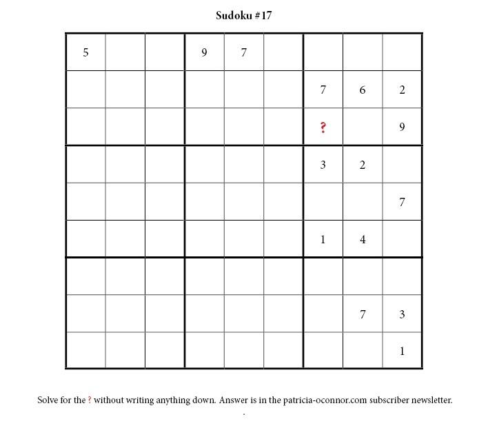 sudoku quiz #17 edited