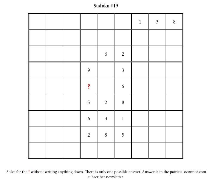 sudoku quiz #19 edited