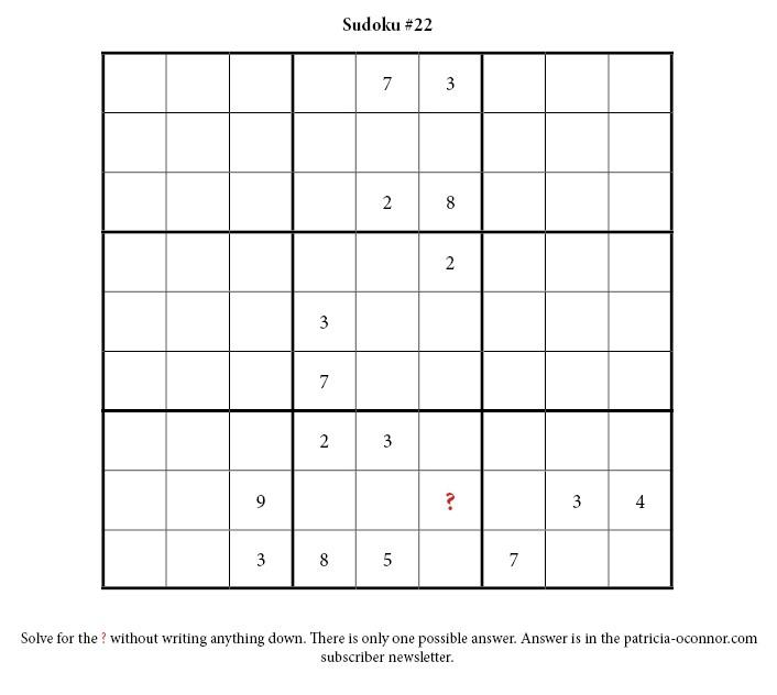 sudoku quiz #22 edited