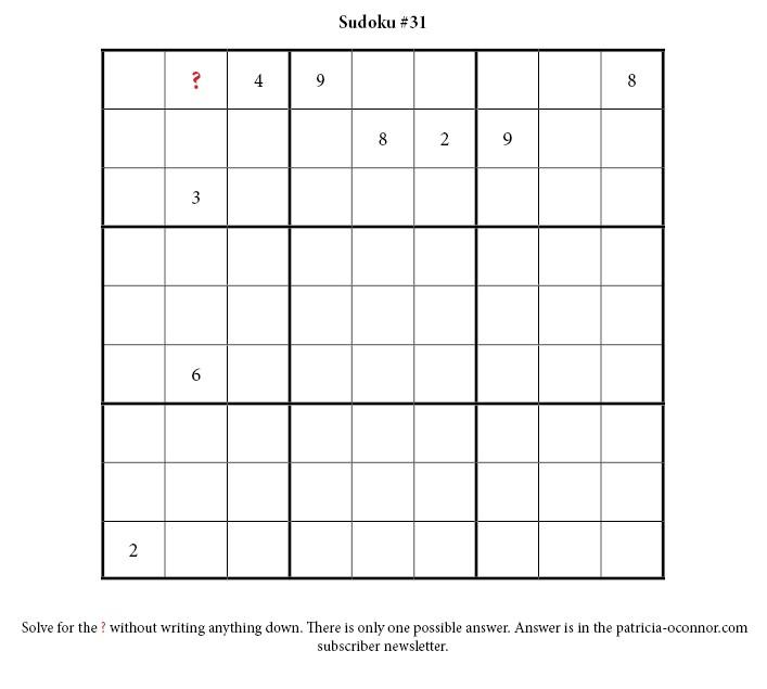 sudoku quiz #31 edited