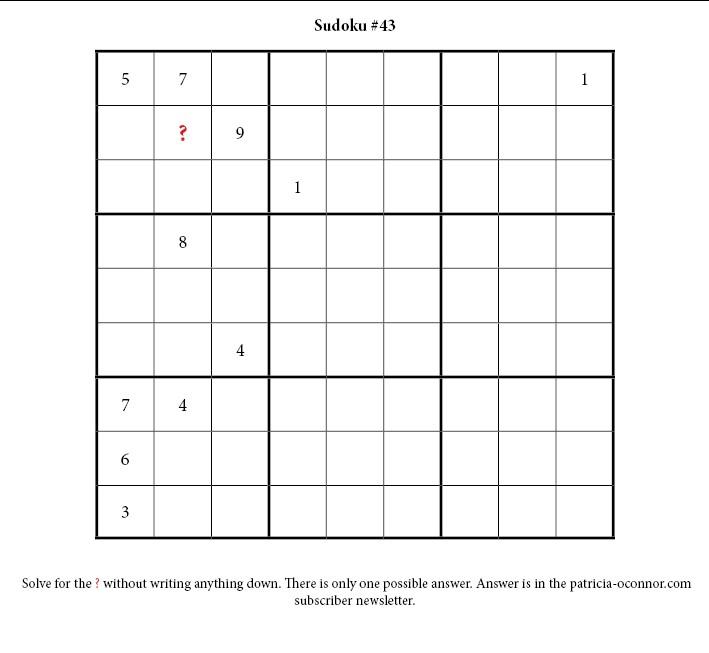 sudoku quiz #43 edited